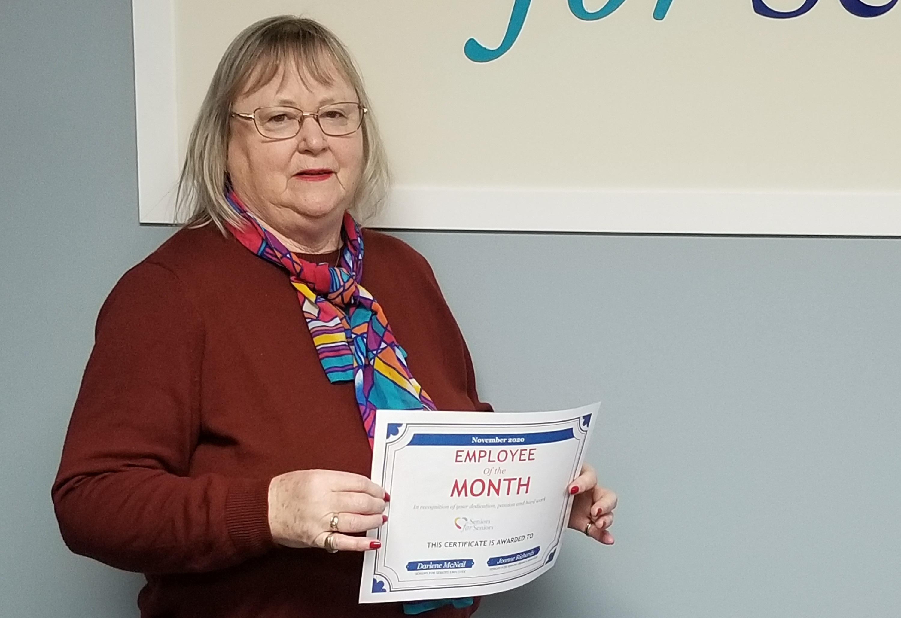 Image: Darlene is our newest Employee of the Month!